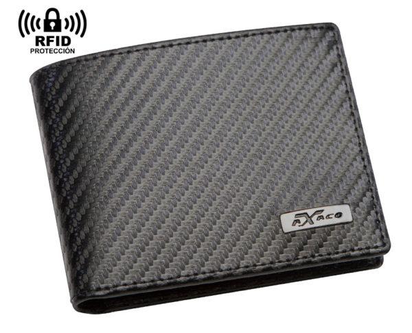 Cartera con monedero de piel con efecto fibra de carbono para hombre. Protección RFID NFC y sistema localizador.